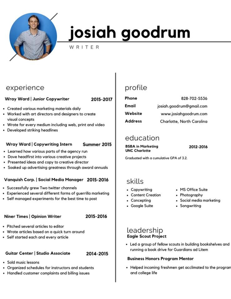 Copy of Josiah Goodrum _Resume 2017_writer